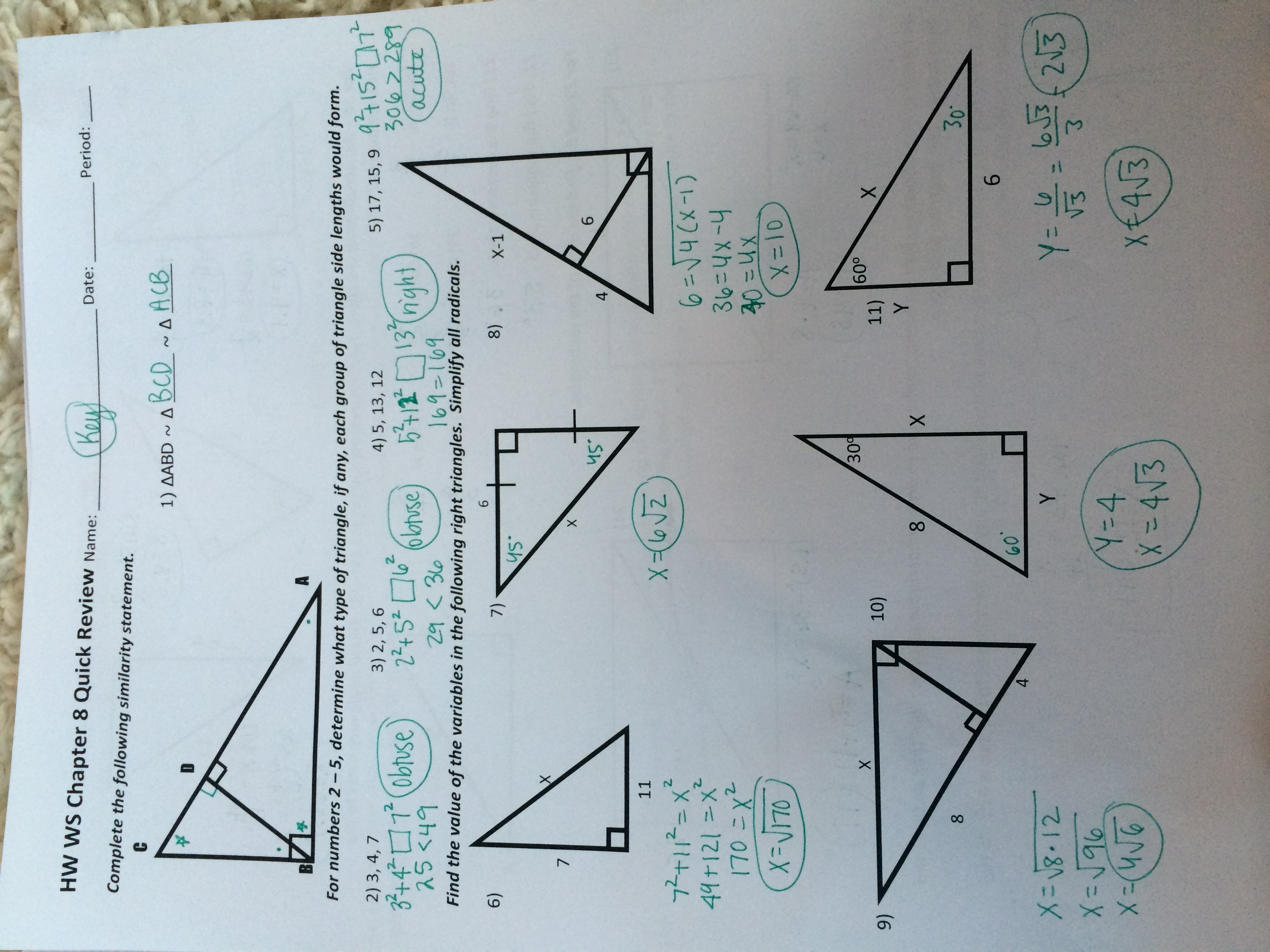 30 58 Special Right Triangles Worksheet - Free Worksheet ...